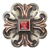 Raised Red Stone on Silver Concho Tack - Conchos & Hardware - Conchos Teskeys Teskeys