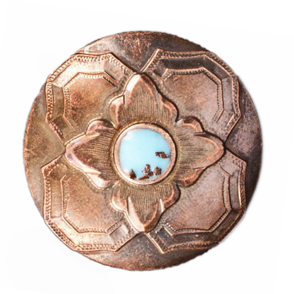 Copper Concho with Turquoise Dot Tack - Conchos & Hardware Teskeys Teskeys