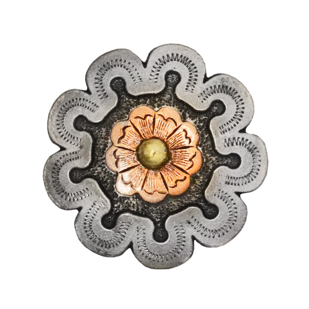 Copper Flower with Horseshoes Concho