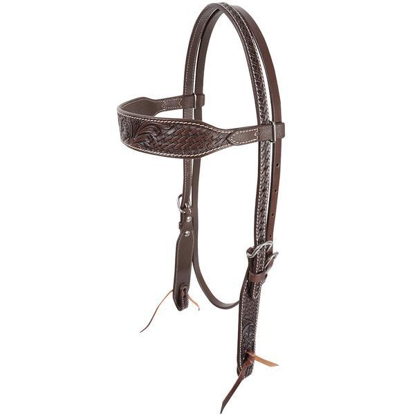 Cashel Chocolate Tooled Headstall Tack - Headstalls Cashel Teskeys