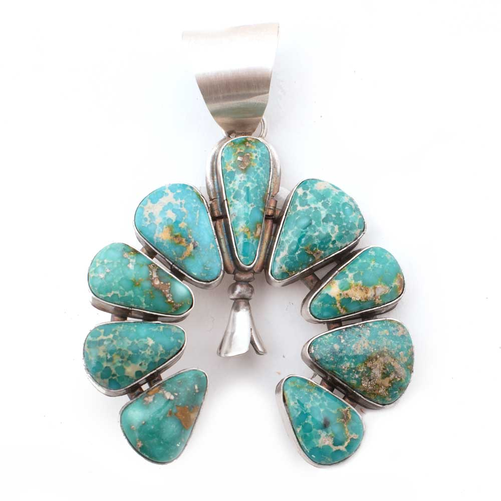 Royston Turquoise Squash Blossom Pendant WOMEN - Accessories - Jewelry - Pins & Pendants Shady Lady & Co Teskeys