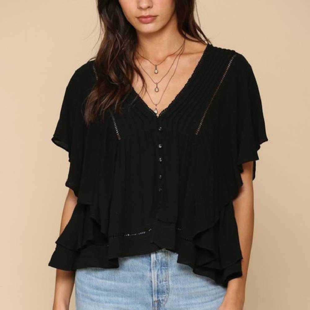 V-Neck Ruffle Top WOMEN - Clothing - Tops - Short Sleeved BY TOGETHER Teskeys