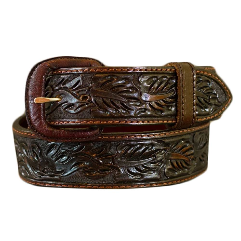 Vogt Saddle Brown Leaf Straight Belt MEN - Accessories - Belts & Suspenders VOGT SILVERSMITHS Teskeys