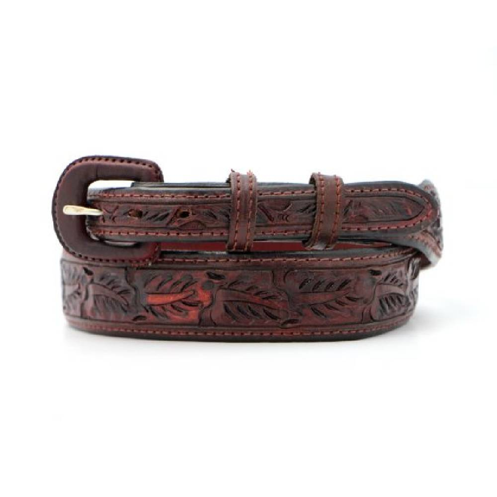 Vogt Saddle Brown Leaf Tapered Belt MEN - Accessories - Belts & Suspenders VOGT SILVERSMITHS Teskeys