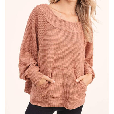 Waffle Knit V-Back Top WOMEN - Clothing - Tops - Long Sleeved LA MIEL Teskeys