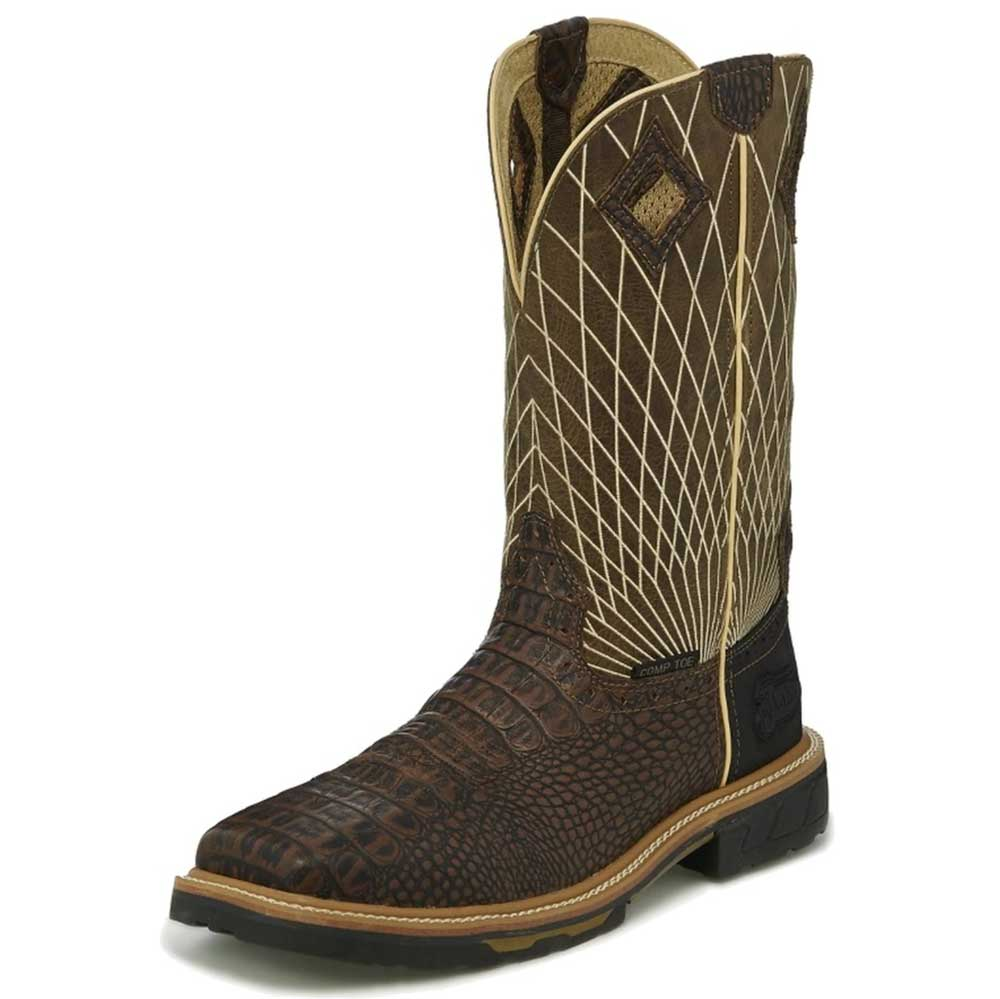 Justin Men's Composite Toe Work Boots Chocolate Caiman Print / Moss Webb MEN - Footwear - Work Boots JUSTIN BOOT CO. Teskeys