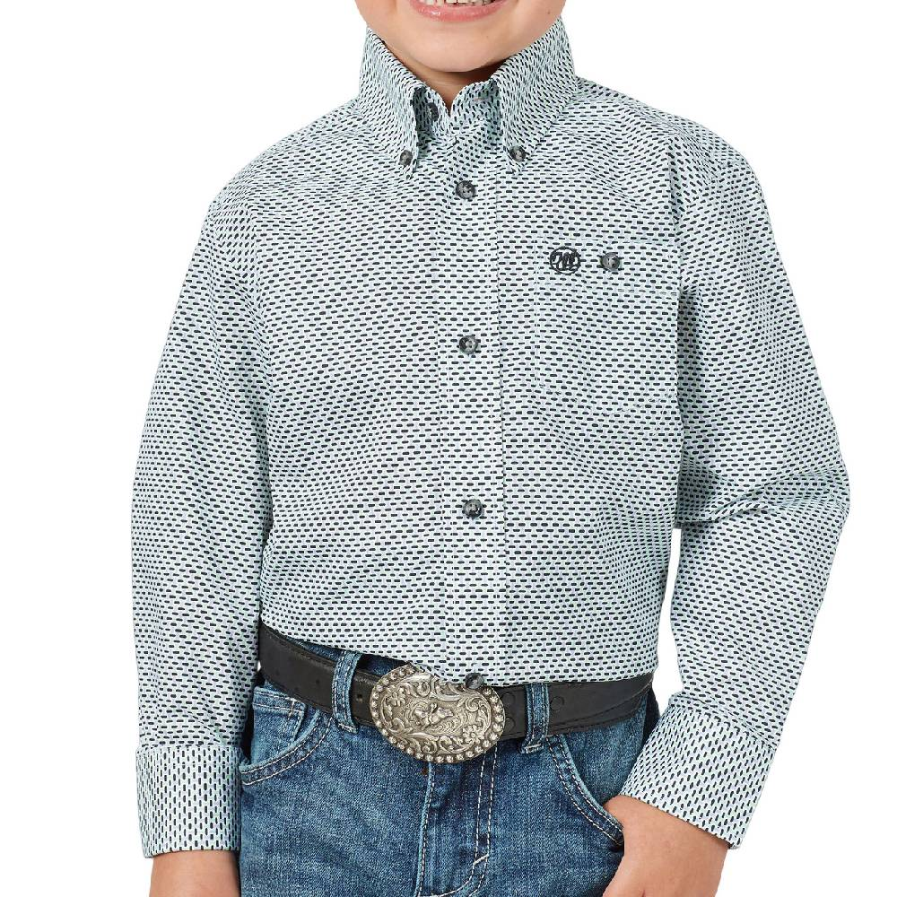 Wrangler Boy's Printed Poplin Button Down Shirt KIDS - Boys - Clothing - Shirts - Long Sleeve Shirts WRANGLER Teskeys
