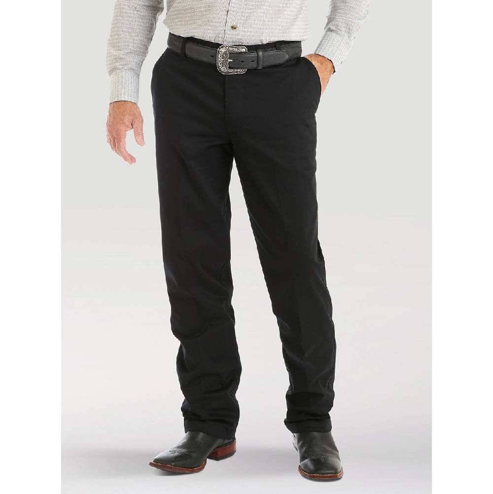 Wrangler Riata Flat Front Black Pant MEN - Clothing - Pants WRANGLER Teskeys