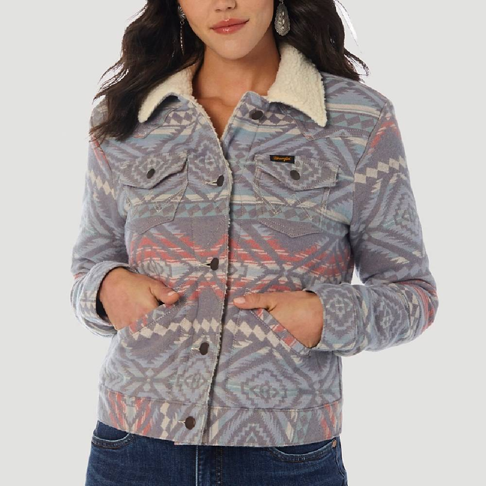 Wrangler Women's Sherpa Jacquard Print Jacket WOMEN - Clothing - Outerwear - Jackets WRANGLER Teskeys