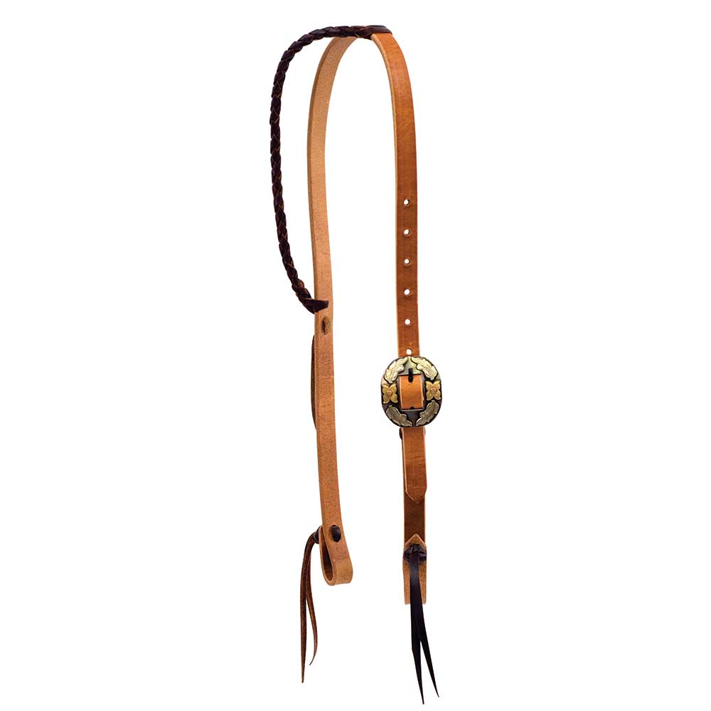Wildfire Single Ear Headstall w//Rose Stamp Conchos