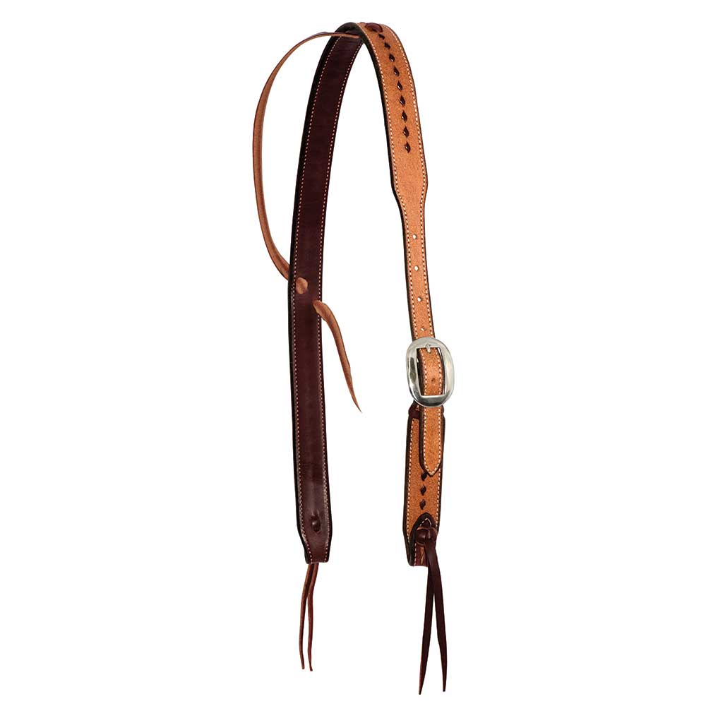 Wildfire Saddlery 1-1/4'' Rough Out Buckstitched Cowboy Knot Ear Headstall Tack - Headstalls - One Ear Partrade Teskeys
