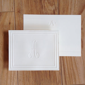 Embossed Script Initial Note