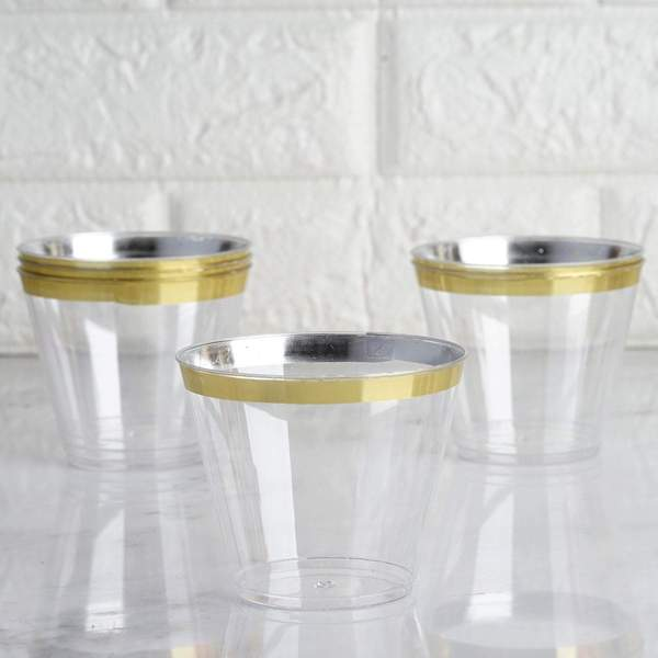 Gold Rim Disposable Glasses