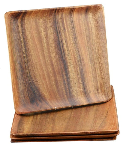 "Acacia Wood 12"" Square Plates Set of 4"
