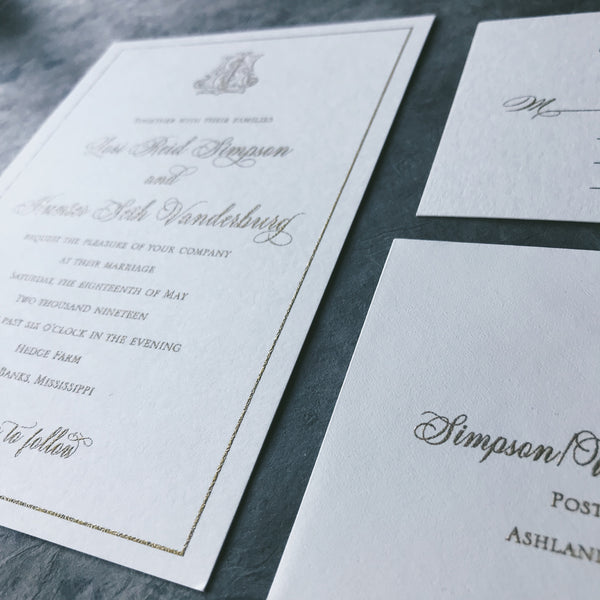 Simpson Wedding Invitation - Deposit Listing