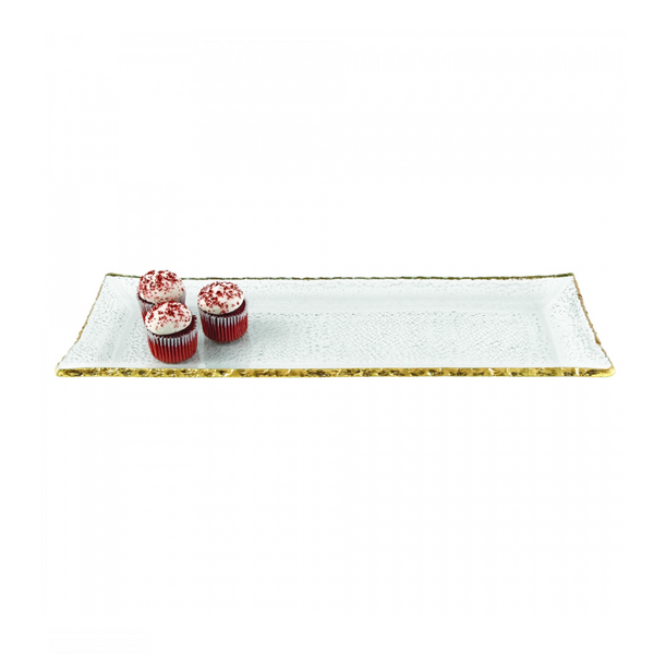 Gold Edge Glass Serving Trays