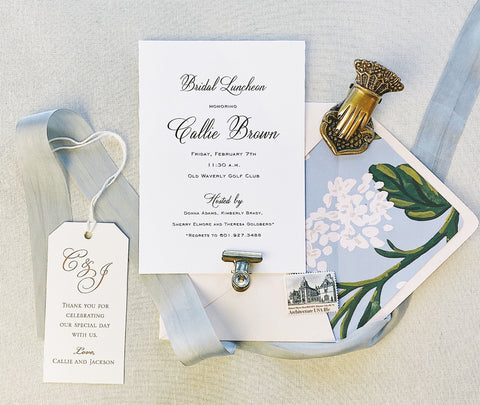 Brown Bridal Luncheon Invitation - Deposit Listing