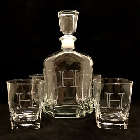 Monogrammed Bar Glasses or Decanter