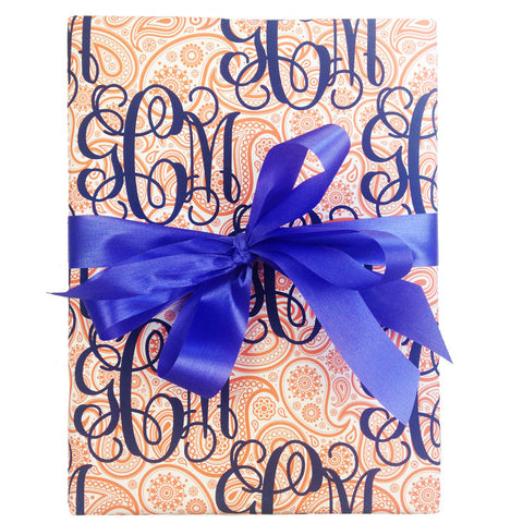 Monogramed Gift Wrap - Paisley