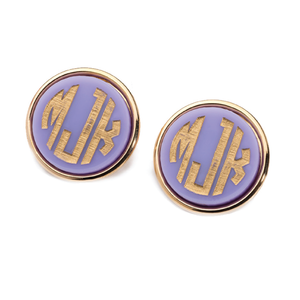 Acrylic Vineyard Round Monogram Post Earrings