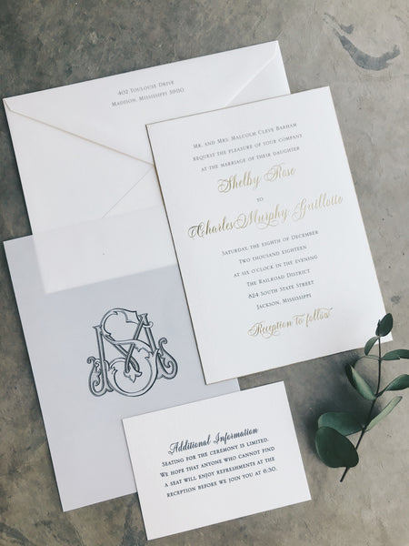 Shelby Wedding Invitation - Deposit Listing