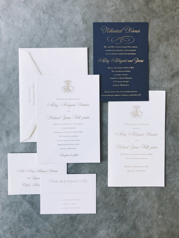 gold-foil-navy-monogram-wedding-invitation