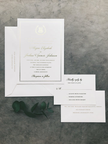 classic-gold-foil-crest-wedding-invitation