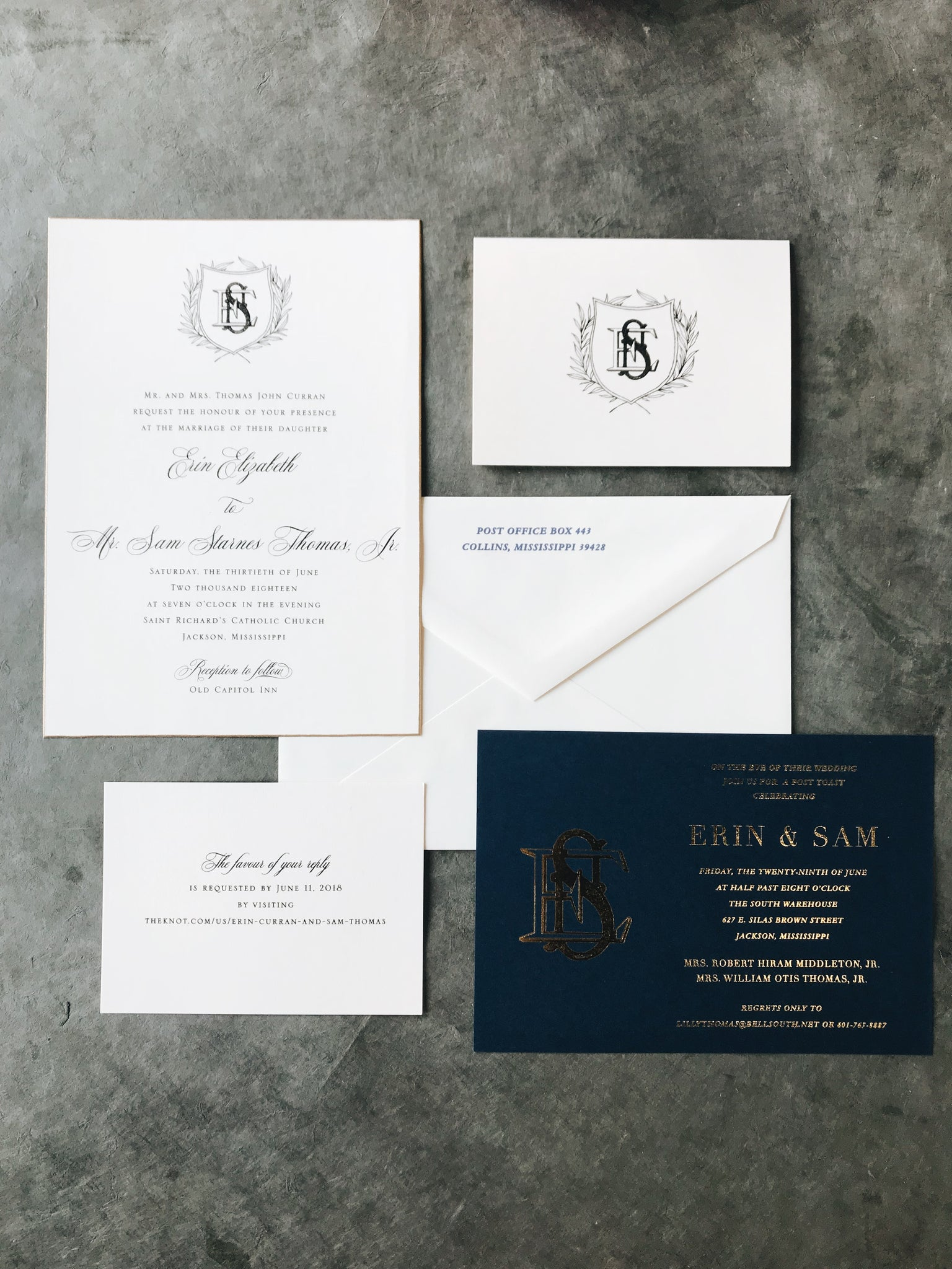 navy-gold-crest-wedding-invitation-calligraphy-monogram