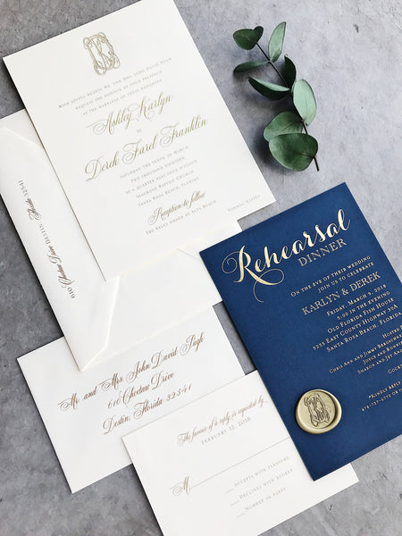 gold-foil-monogram-seal-calligraphy-navy-wedding-invitation