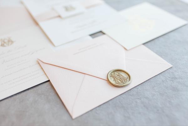 blush-belly-band-gold-foil-monogram-seal-wedding-invitation