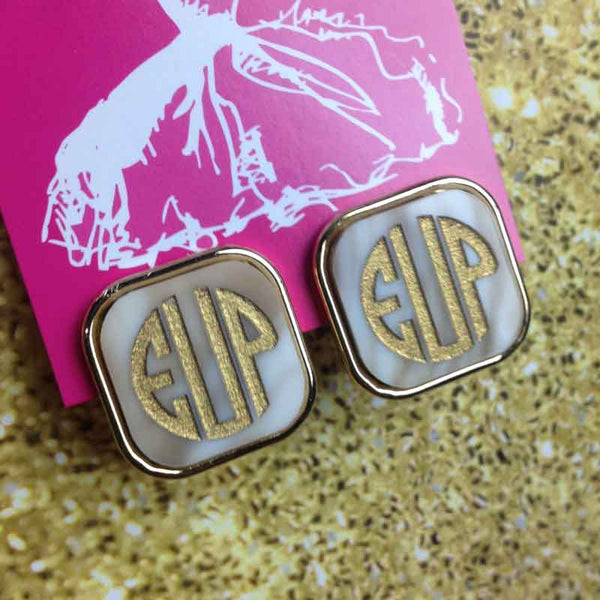 Acrylic Vineyard Square Monogram Post Earrings