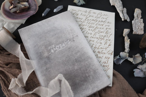 Grey Velvet Wedding Vow Keepsake Book