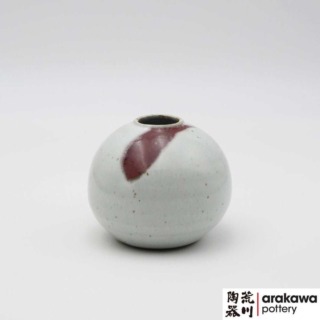 Red & White Glaze Miniature Arrangement  Ikebana container made of Smooth Sculpture Stoneware by Thomas Arakawa at Arakawa Pottery