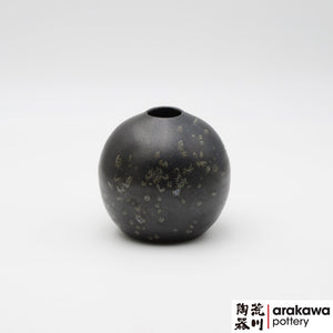 Handmade Ceramic Ikebana Container: Black Glaze with Blue Drip Miniature Arrangement  Ikebana container  made of Bravo Buff Stoneware by Thomas Arakawa at Arakawa Pottery