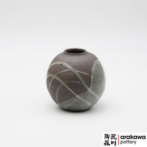 Gray glaze with swish stoke Miniature Arrangement  Ikebana container made of Dark Brown Stoneware by Thomas Arakawa at Arakawa Pottery