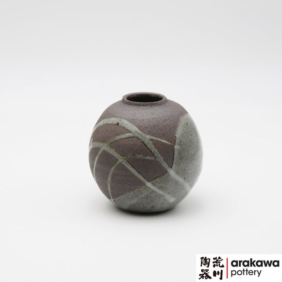 Handmade Ceramic Ikebana Container: Gray glaze with swish stoke Miniature Arrangement  Ikebana container  made of Dark Brown Stoneware by Thomas Arakawa at Arakawa Pottery