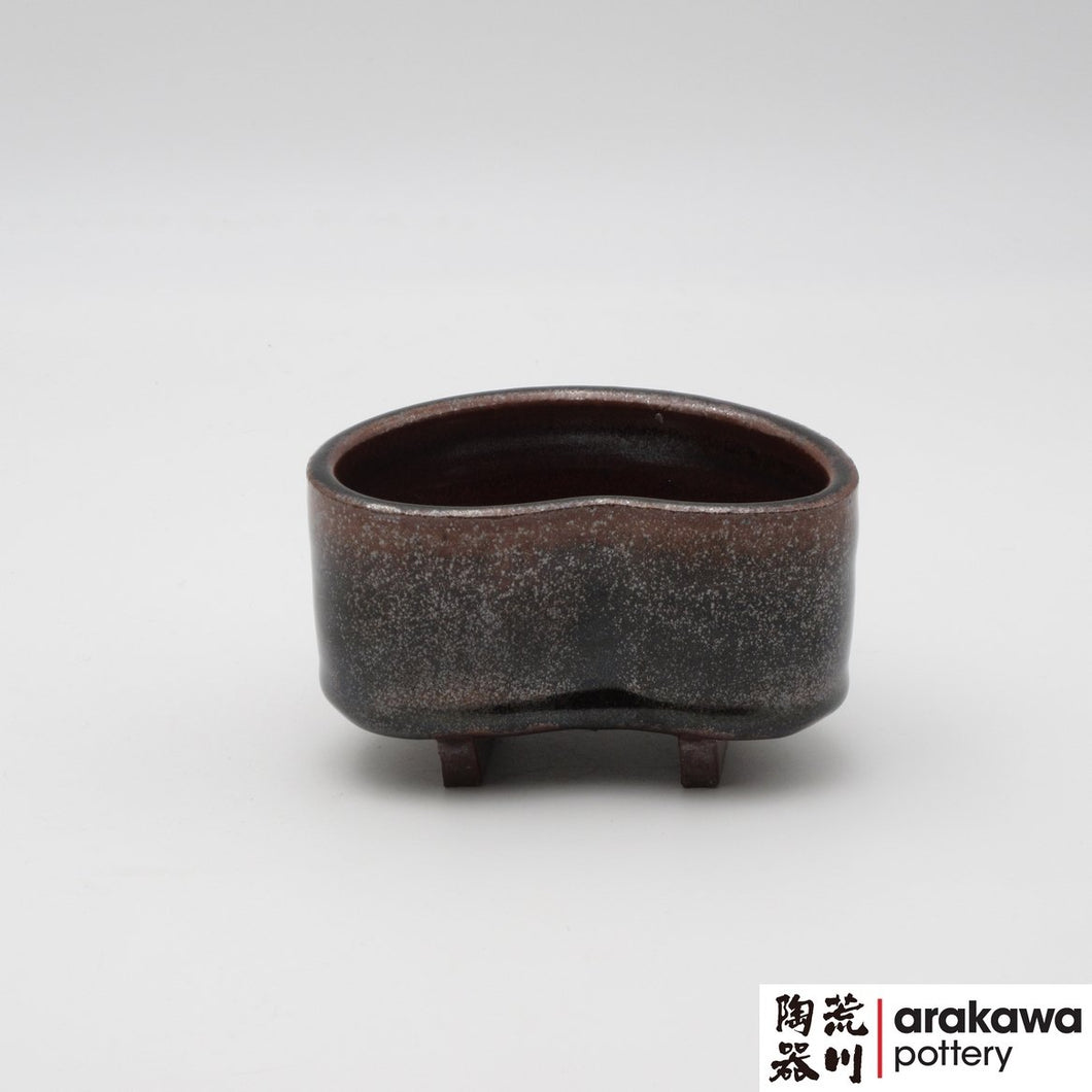 Black Tenmoku Glaze Very Small Compote Ikebana container made of Bravo Buff Stoneware by Thomas Arakawa and Kathy Lee at Arakawa Pottery