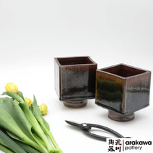 Load image into Gallery viewer, Black Tenmoku Glaze Small Compote Ikebana container made of Bravo Buff Stoneware by Thomas Arakawa and Kathy Lee at Arakawa Pottery