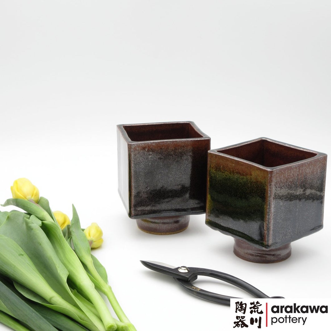 Black Tenmoku Glaze Small Compote Ikebana container made of Bravo Buff Stoneware by Thomas Arakawa and Kathy Lee at Arakawa Pottery