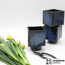 Load image into Gallery viewer, Navy & Flambe Glaze Small Compote Ikebana container made of Bravo Buff Stoneware by Thomas Arakawa and Kathy Lee at Arakawa Pottery