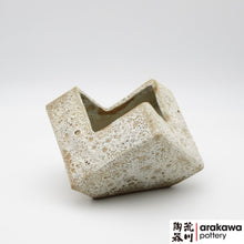 Load image into Gallery viewer, White Lava Glaze Unique Shape Container Ikebana container made of Bravo Buff Stoneware by Kathy Lee-Arakawa at Arakawa Pottery