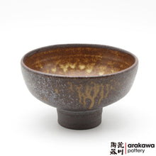 Load image into Gallery viewer, Shino & Wood Ash Glaze Very Small Compote Ikebana container made of Dark Brown Stoneware by Thomas Arakawa and Kathy Lee at Arakawa Pottery