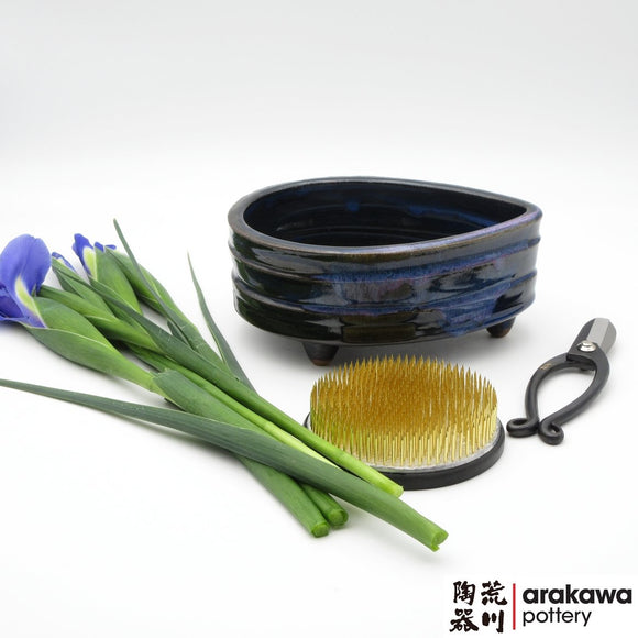 Handmade Ceramic Ikebana Container: Navy & Flambe Glaze Small Compote Ikebana container  made of Bravo Buff Stoneware by Thomas Arakawa and Kathy Lee at Arakawa Pottery