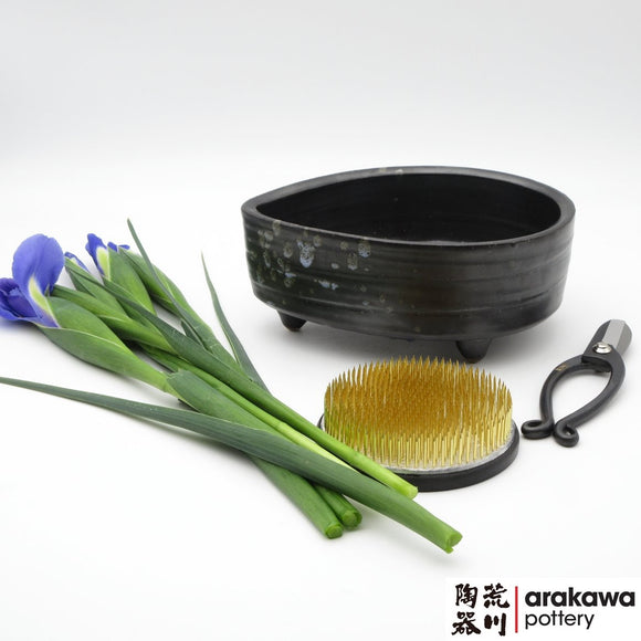 Handmade Ceramic Ikebana Container: Black Glaze with Blue Splash Small Compote Ikebana container  made of Bravo Buff Stoneware by Thomas Arakawa and Kathy Lee at Arakawa Pottery