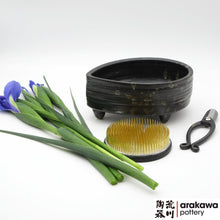 Load image into Gallery viewer, Black Glaze with Blue Splash Small Compote Ikebana container made of Bravo Buff Stoneware by Thomas Arakawa and Kathy Lee at Arakawa Pottery