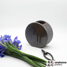 Load image into Gallery viewer, Shino & Wood Ash Glaze Unique Shape Container Ikebana container made of Dark Brown Stoneware by Thomas Arakawa and Kathy Lee at Arakawa Pottery