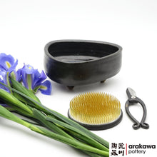 Load image into Gallery viewer, Black Glaze with Blue Drip Small Compote Ikebana container made of Bravo Buff Stoneware by Thomas Arakawa and Kathy Lee at Arakawa Pottery
