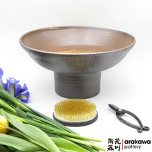 Load image into Gallery viewer, Shino & Wood Ash Glaze Compote Ikebana container made of Dark Brown Stoneware by Thomas Arakawa and Kathy Lee at Arakawa Pottery