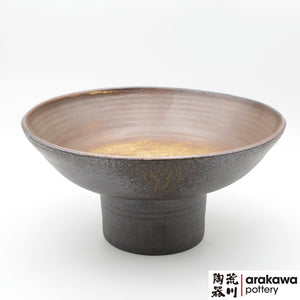 Shino & Wood Ash Glaze Compote Ikebana container made of Dark Brown Stoneware by Thomas Arakawa and Kathy Lee at Arakawa Pottery