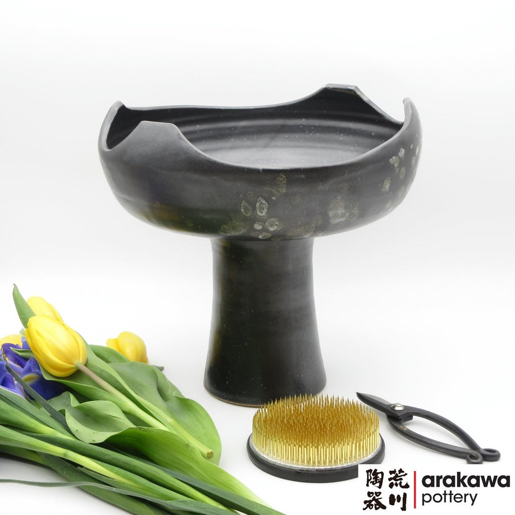 Black Glaze with Blue Drip Compote Ikebana container made of Bravo Buff Stoneware by Thomas Arakawa and Kathy Lee at Arakawa Pottery